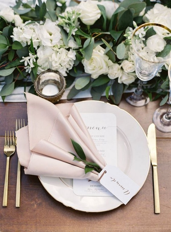 elegant greenery and white wedding centerpiece with blush pink