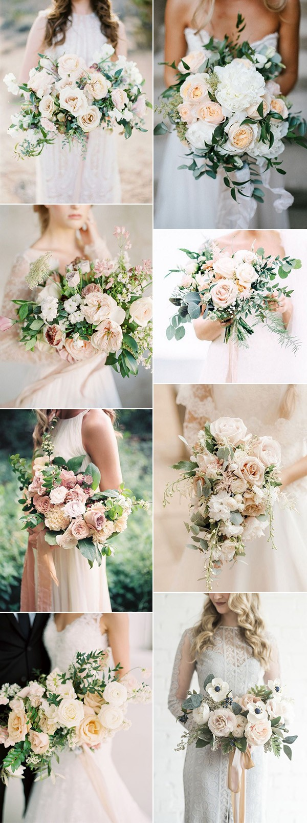 elegant neutral colors wedding bouquets