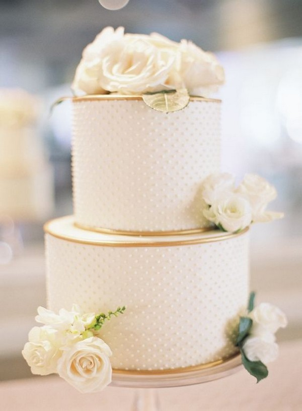 elegant wedding cake with hint of gold