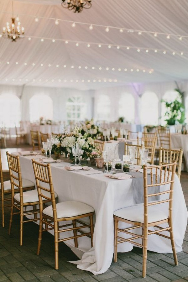 gold and blush pink tented wedding reception ideas