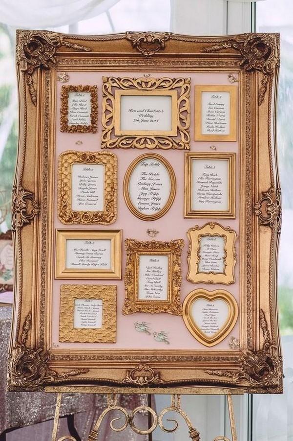 gold framed vintage wedding seating chart ideas
