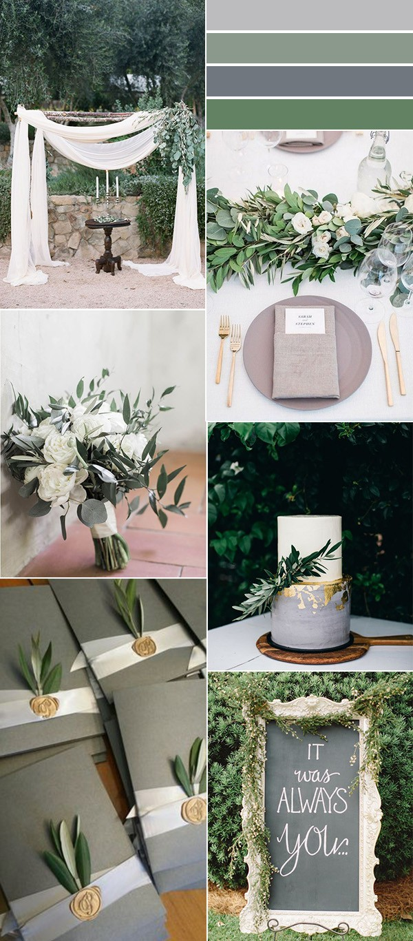 green and gray neutral wedding color ideas