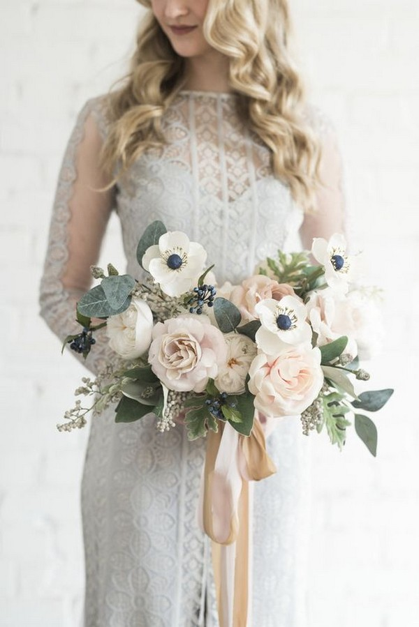 ivory and blush neutral wedding bouquet with ribbon