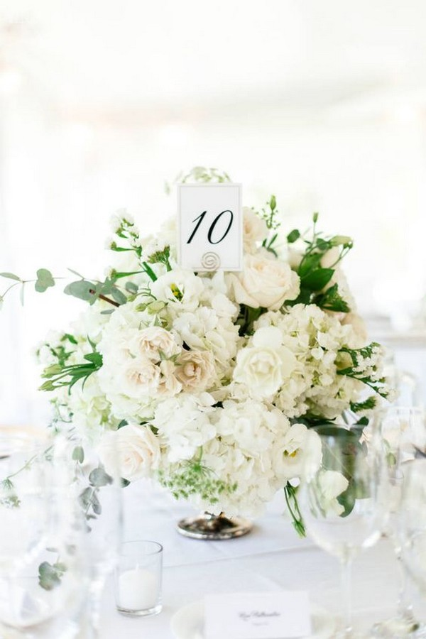 ivory and greenery neutral wedding centerpiece