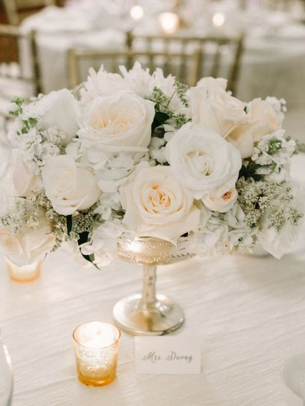 ivory neutral wedding centerpiece ideas with candles