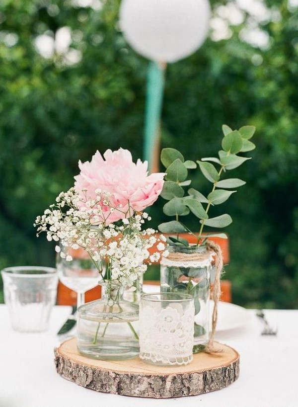 lace and burlap rustic wedding centerpiece
