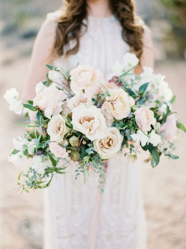 neutral blush and ivory wedding bouquet