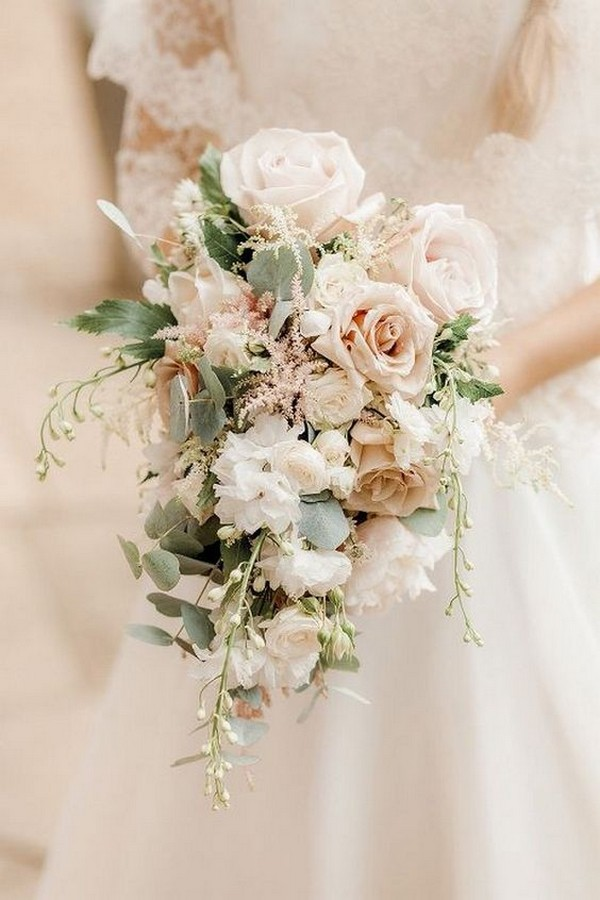 neutral blush pink wedding bouquet