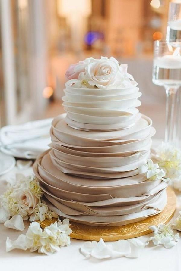 neutral ruffled wedding cake