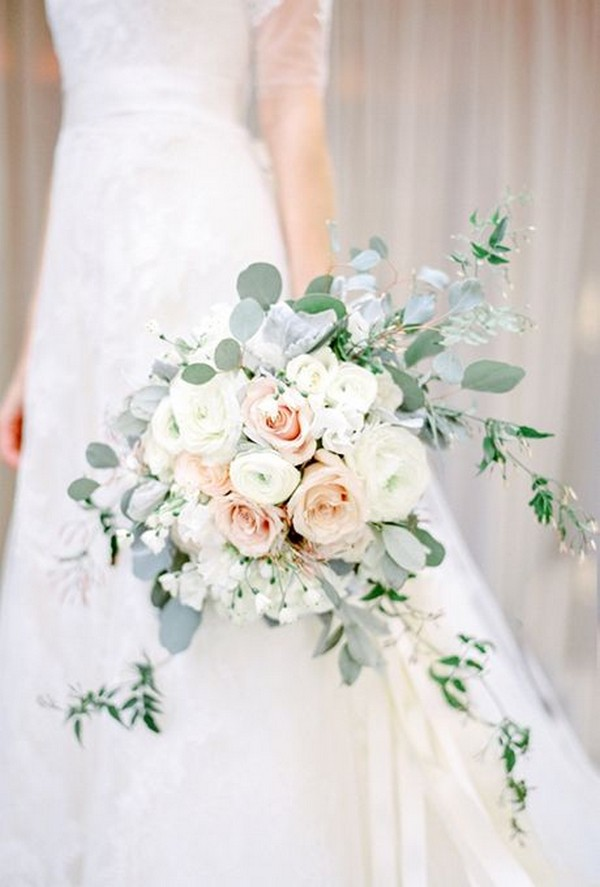 neutral wedding bouquet with blush roses