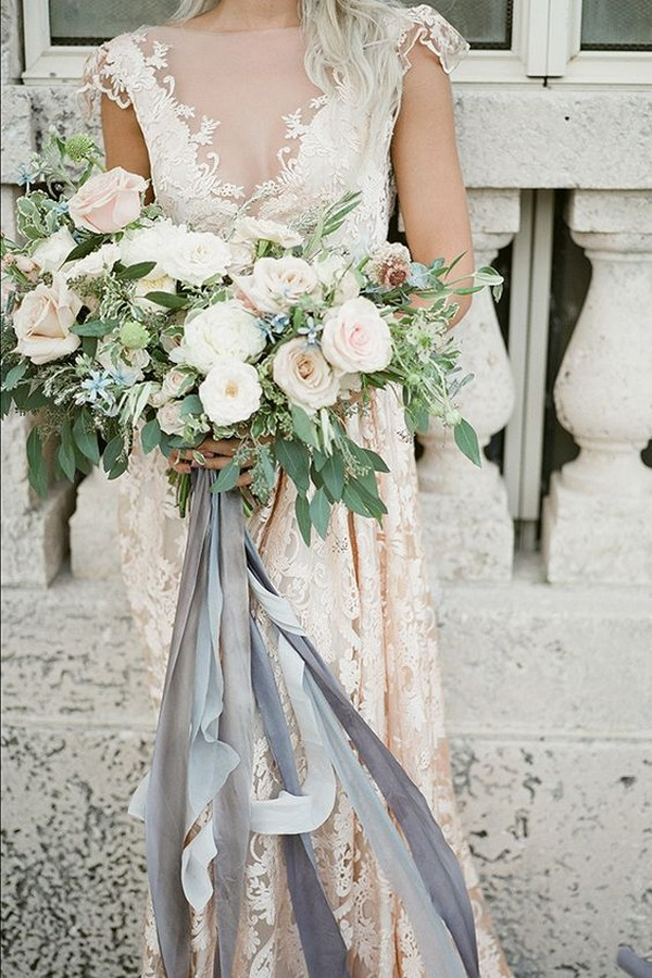 neutral wedding bouquet with grey ribbons