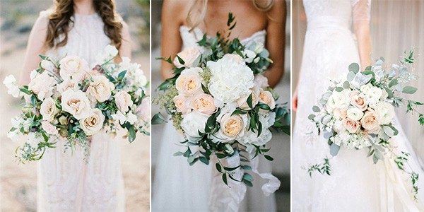 neutral wedding bouquets