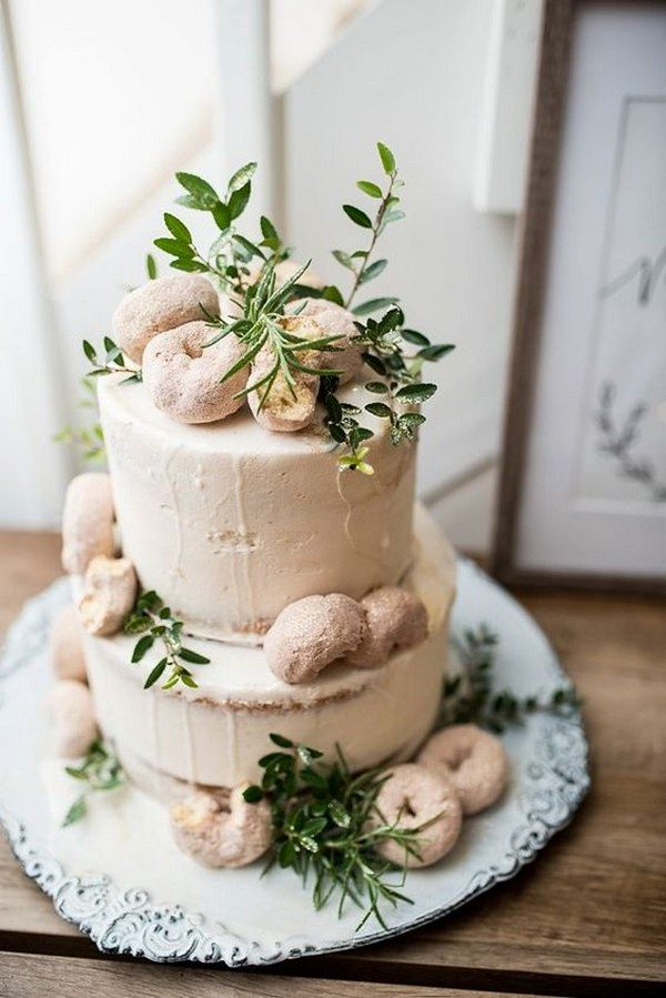 neutral wedding cake with donuts