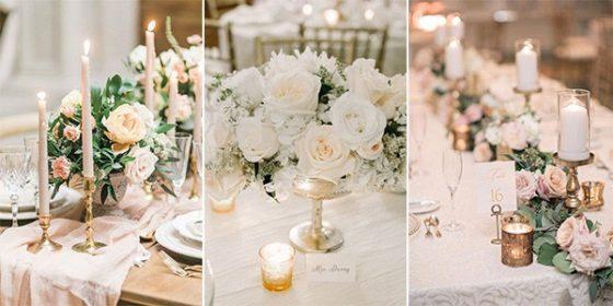 neutral wedding centerpieces