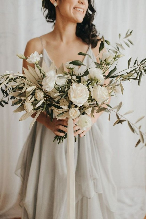 olive branch and roses neutral wedding bouquet