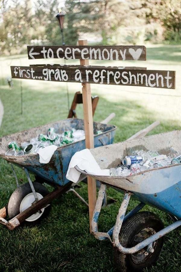 outdoor wedding drink serving ideas