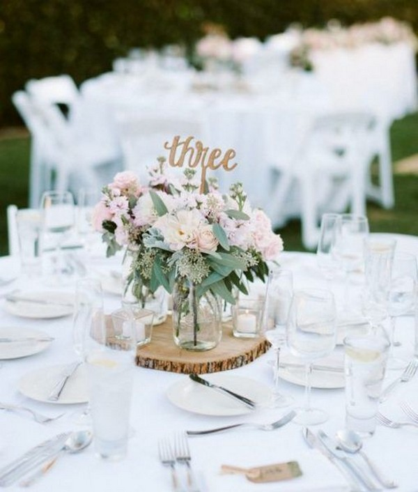 pink and gold wedding centerpiece ideas with tree stump