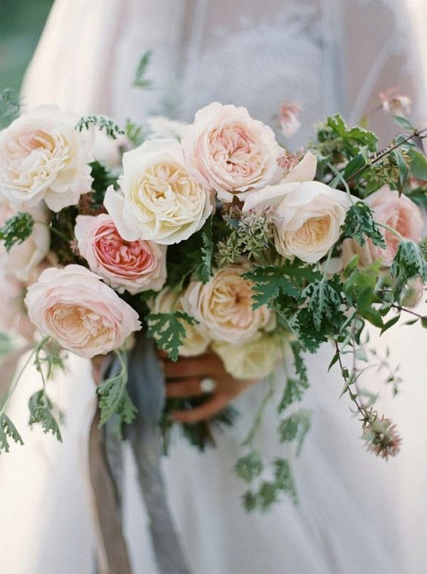 pinks and ivory neutral wedding bouquet