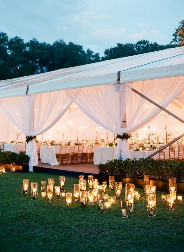 romantic tented wedding ideas with candles