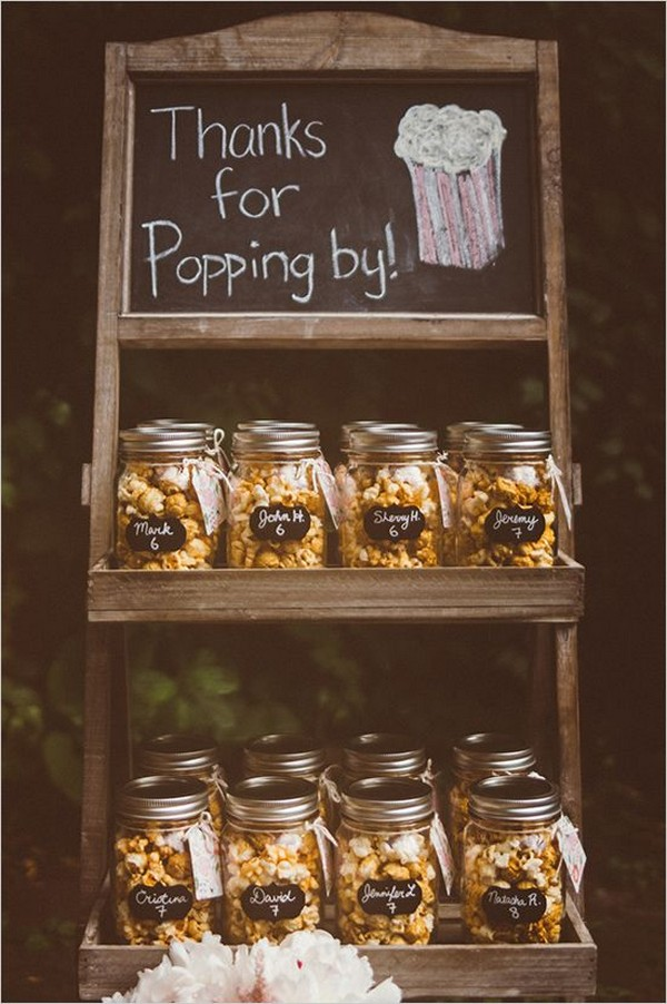 rustic chic mason jar popcorn wedding favors