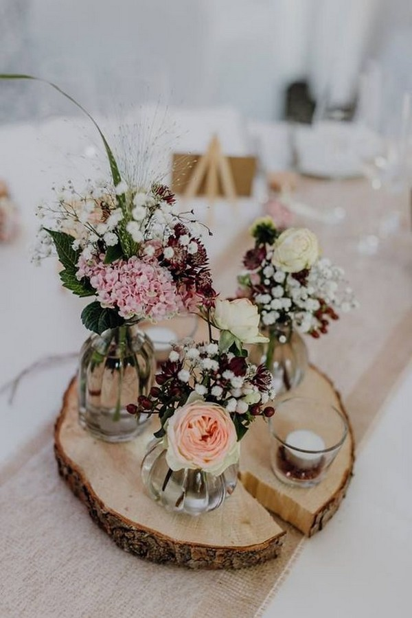 rustic diy wedding centerpiece with tree stump