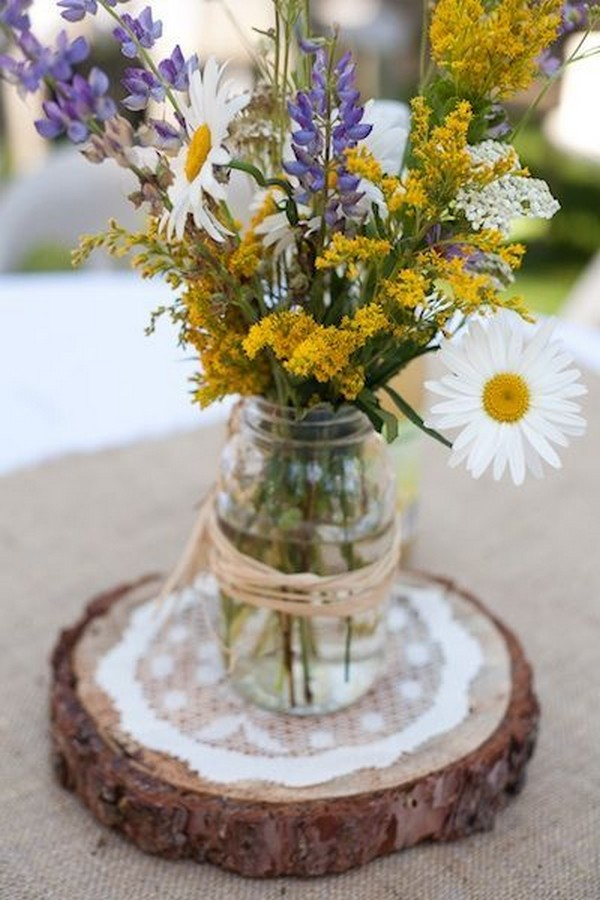 rustic lace and burlap wedding centerpiece ideas