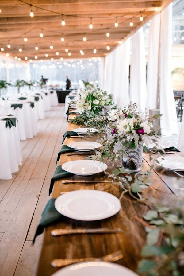rustic long table wedding reception decoration ideas