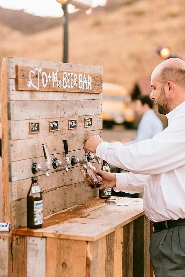 rustic outdoor wedding beer bar