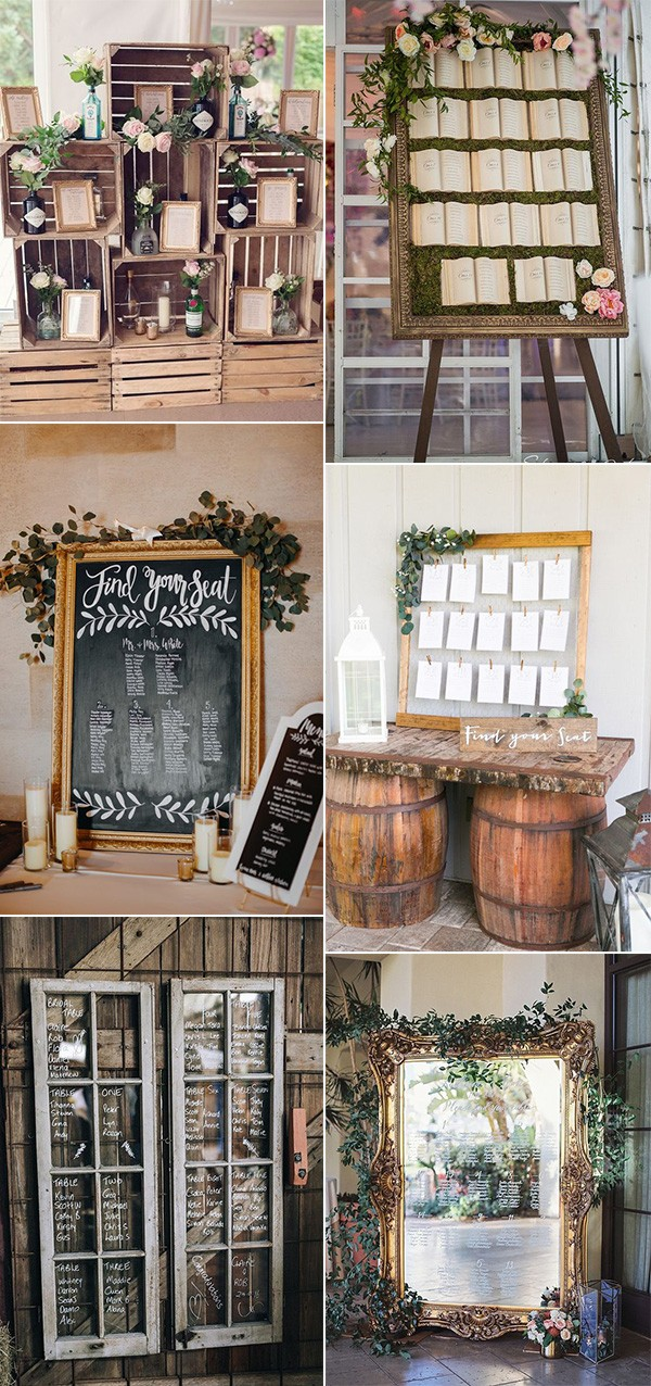 rustic seating chart ideas for vintage weddings