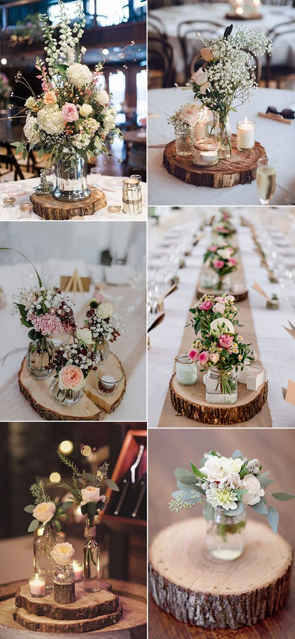 rustic wedding centerpieces with tree stumps
