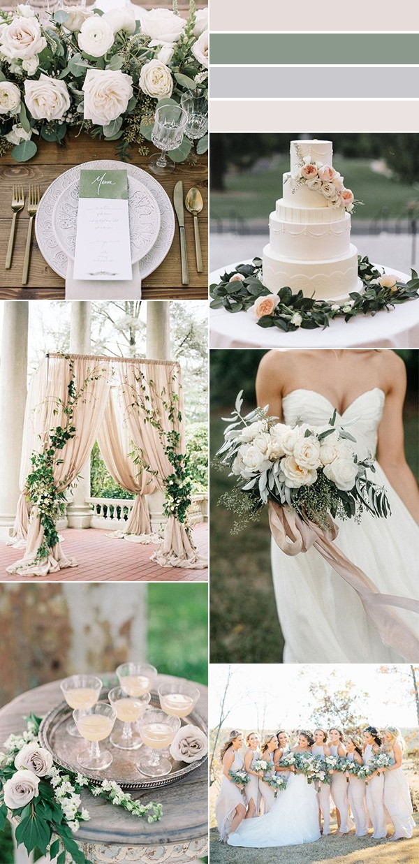 sage green and ivory neutral wedding color ideas