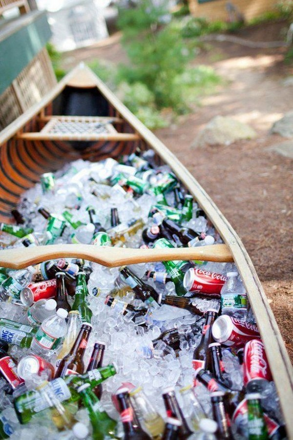 summer outdoor wedding drinks in a boat