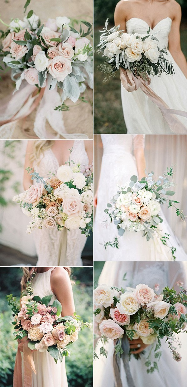 trending blush pink neutral wedding bouquets