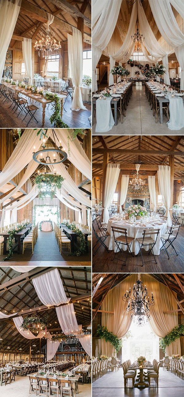 trending country barn wedding reception ideas with drapery