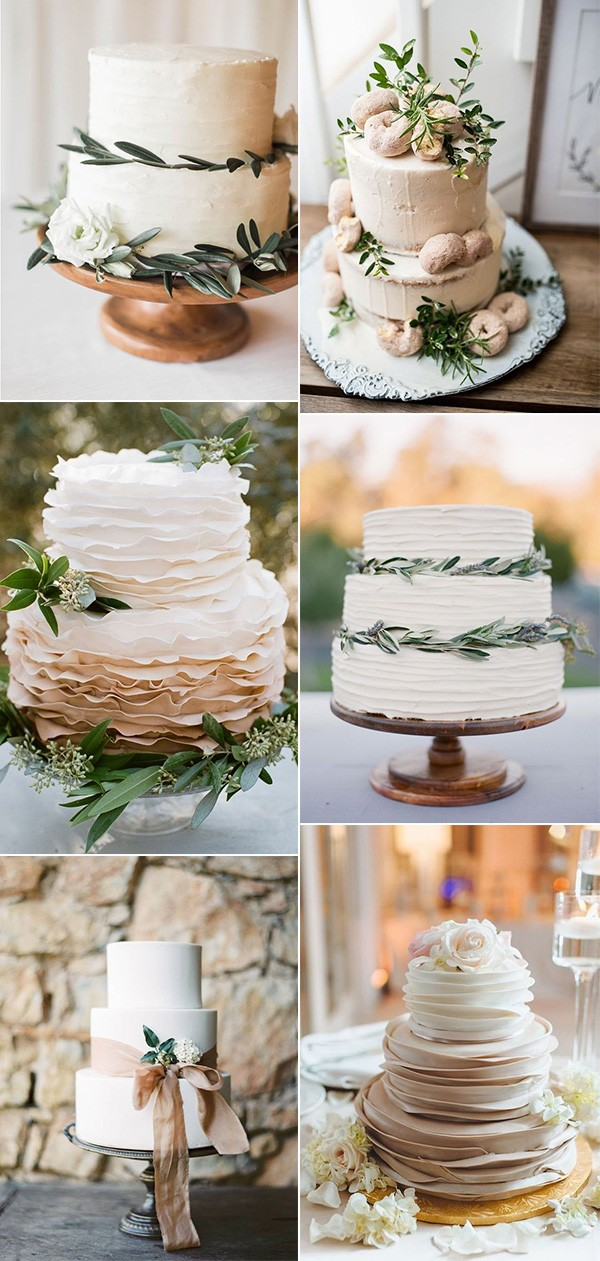 trending elegant neutral wedding cakes
