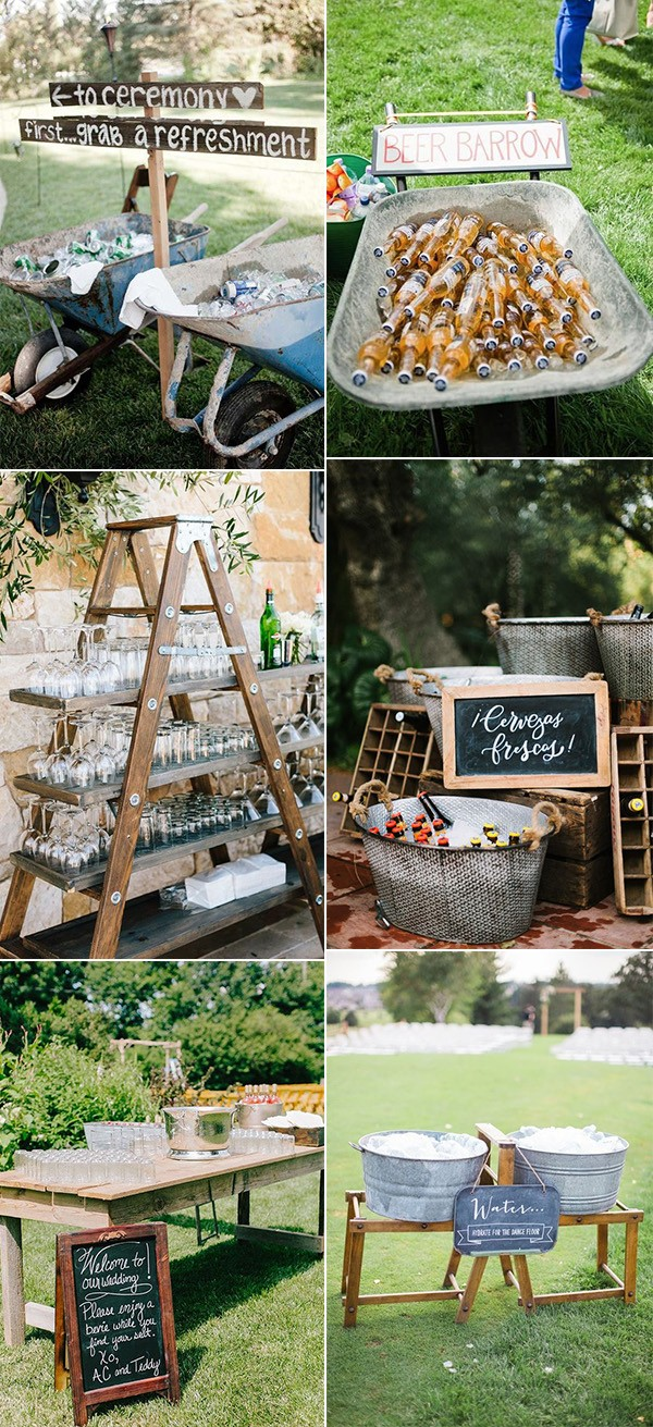 trending outdoor wedding drink station ideas