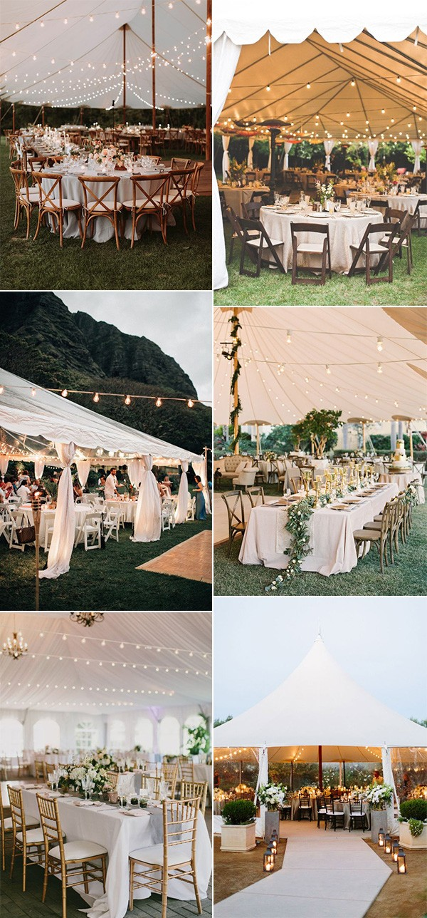 trending tented wedding ideas with string lights