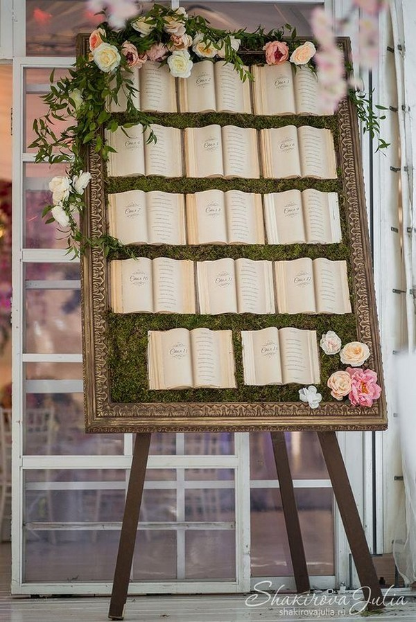 vintage book themed wedding seating chart