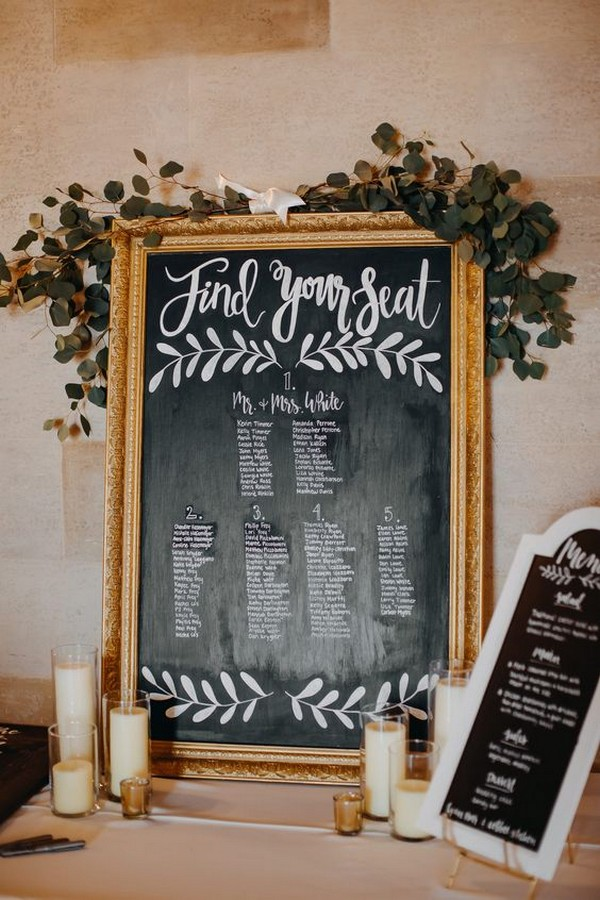 vintage chalkboard wedding seating chart ideas