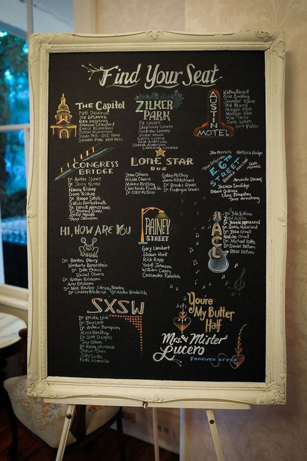 vintage chalkboard wedding seating chart