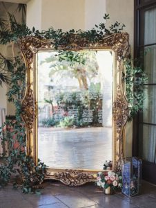 vintage gold framed mirror wedding seating chart ideas