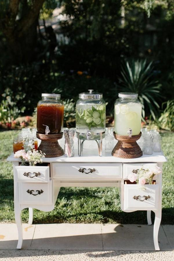 vintage outdoor wedding drink station