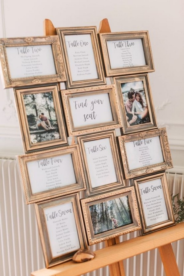 vintage photo frames wedding seating chart ideas