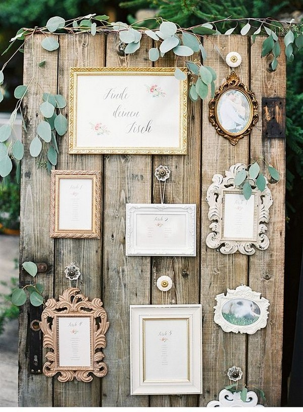 vintage rustic framed wedding seating chart display ideas