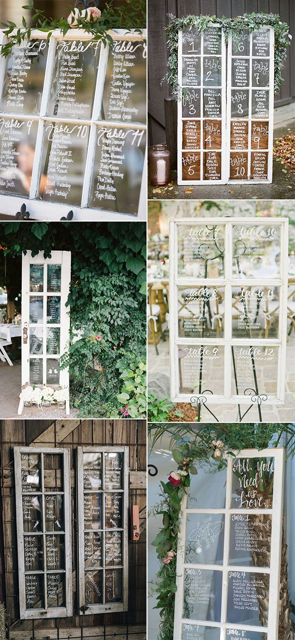 vintage window inspired wedding seating chart ideas