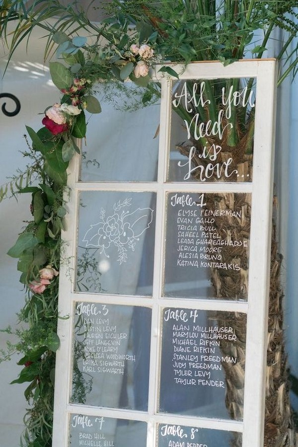 vintage window wedding seating chart ideas