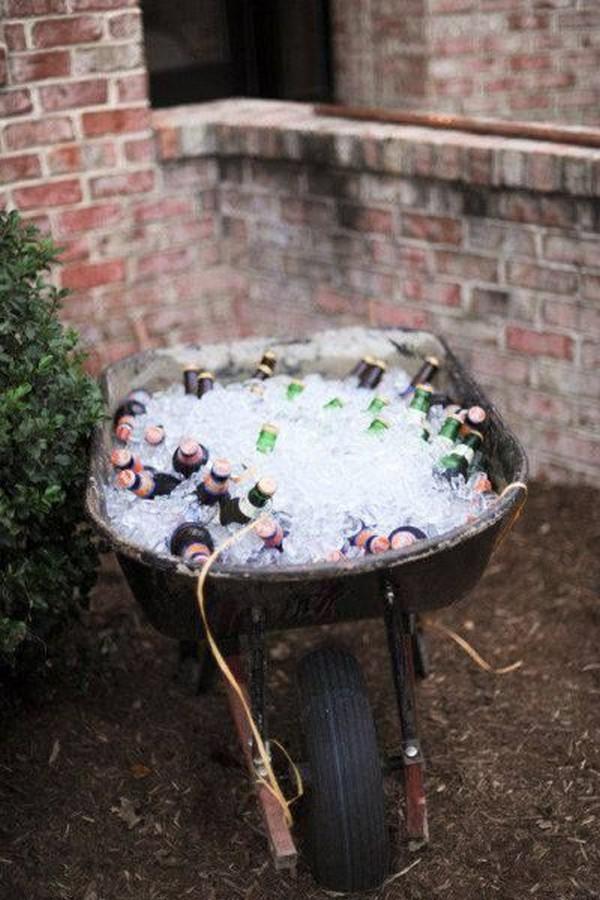wheel barrow outdoor wedding drink station ideas