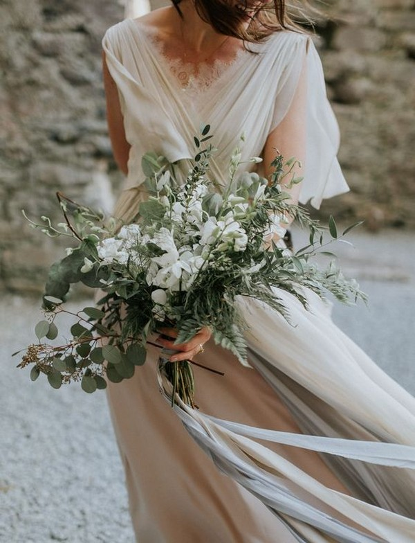 white and greenery boho wedding bouquet