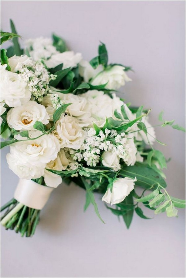 white and greenery neutral wedding bouquet