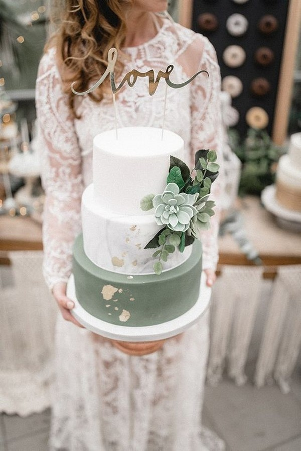 white and greenery wedding cake with hint of gold